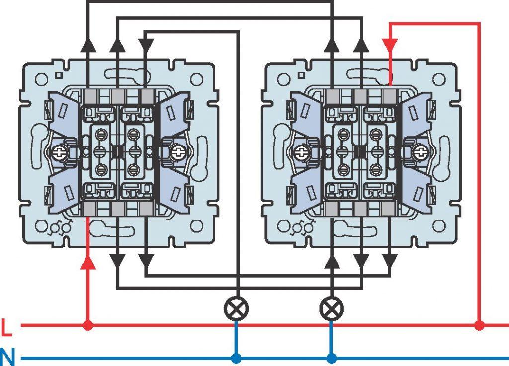 Монтаж проходного выключателе