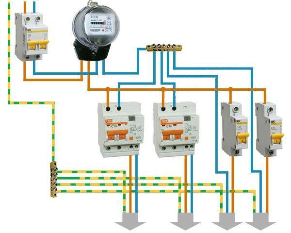Схема подключения дифф. автомата для отдельных приборов
