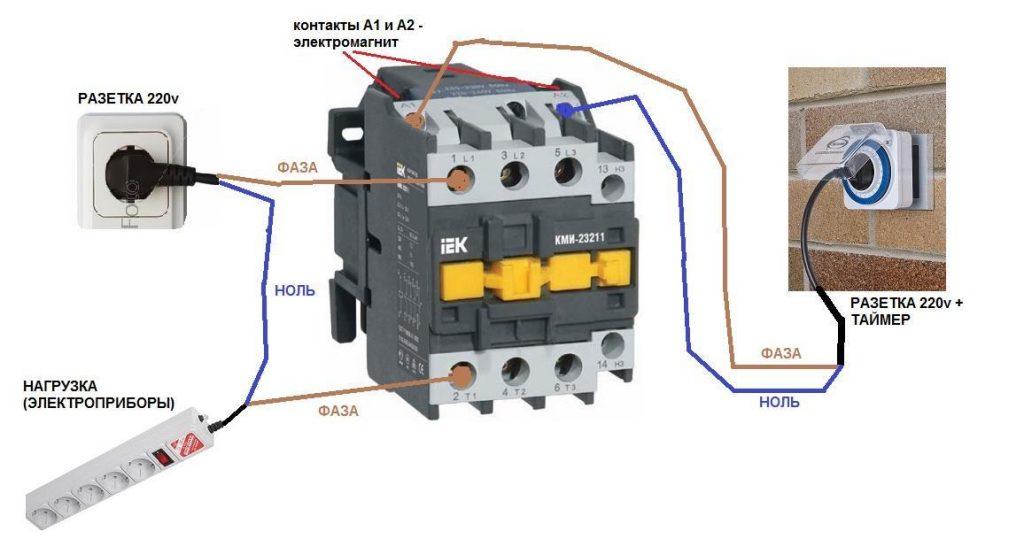 как соединить электромогнит пускатель на220-380вт