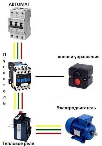 Схема подключения теплового реле: