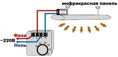 Схема подключения ИК панели с терморегулятором