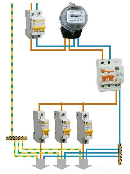 Схема подключения дифф. автомата  как вводного