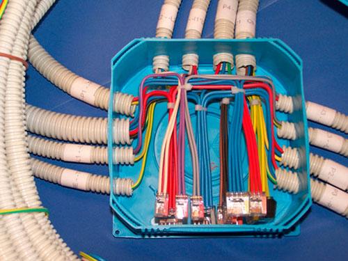 Схема подключения, расключения кабелей в распределительной коробке.