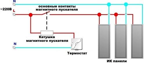 Схема подключения с несколькими ИК панелями с терморегулятором