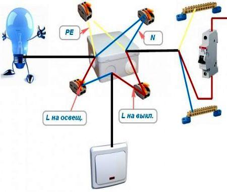 Соединения однооклавишого выключателя