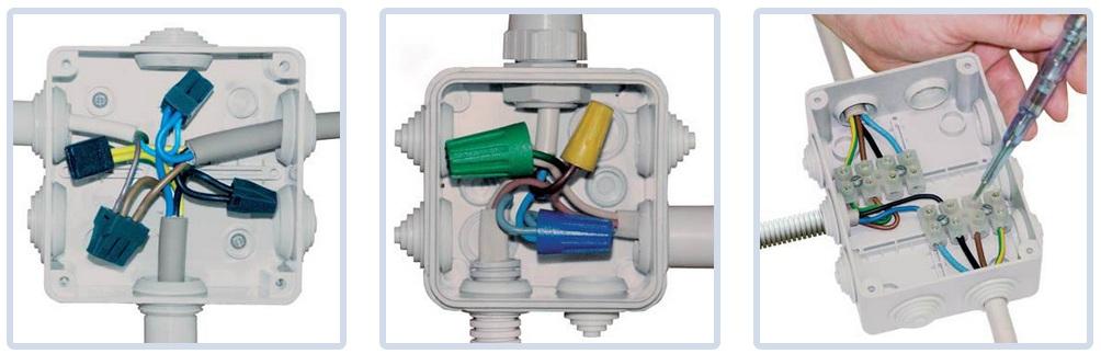 Схема подключения, расключения кабелей в распределительной коробке