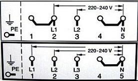 Схема подключения на две или три фазы  сети 380В