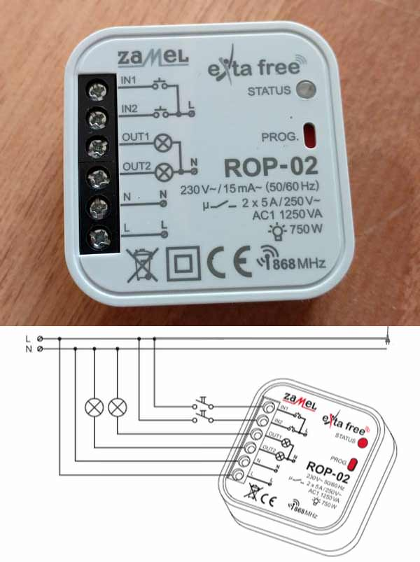 Схема подключения беспроводного выключателя